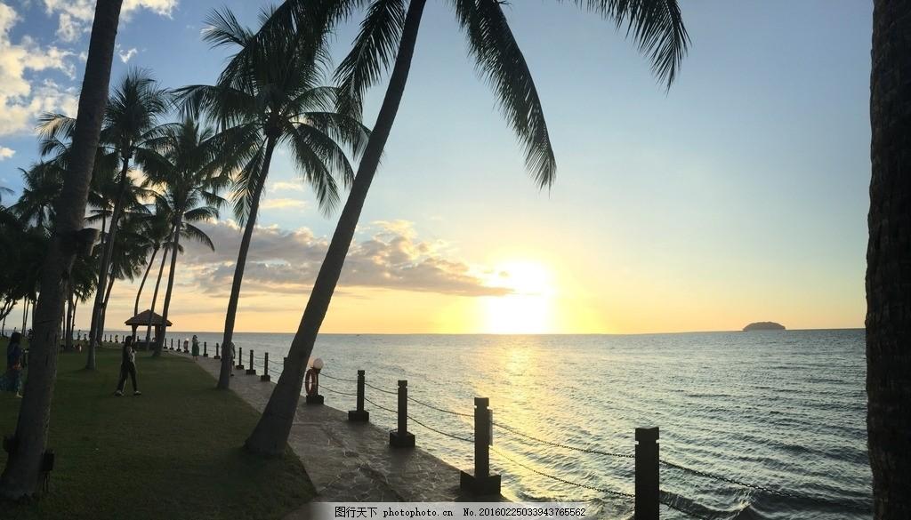 海边 大海 日落 椰子树 沙滩 浪花 马来西亚 美人鱼岛 风景 摄影 旅游