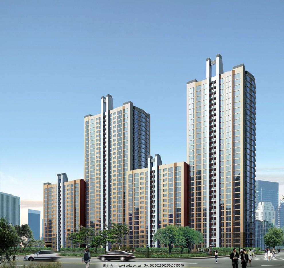 浦东东苑 立面图 楼房 住宅 楼盘 小区 花园 广告设计 建筑效果图