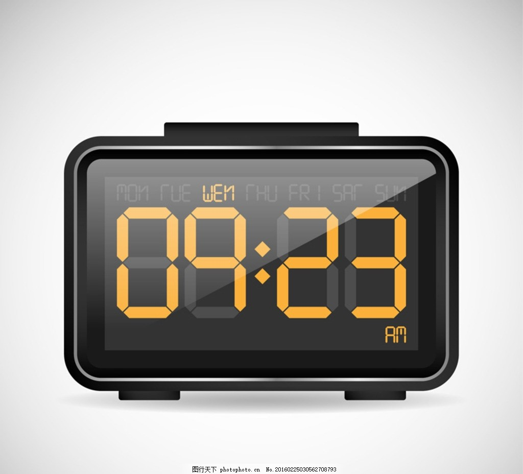 黑色电子钟 黑色 电子钟 电子表 时钟 钟表 时间 倒计时 插画 背景