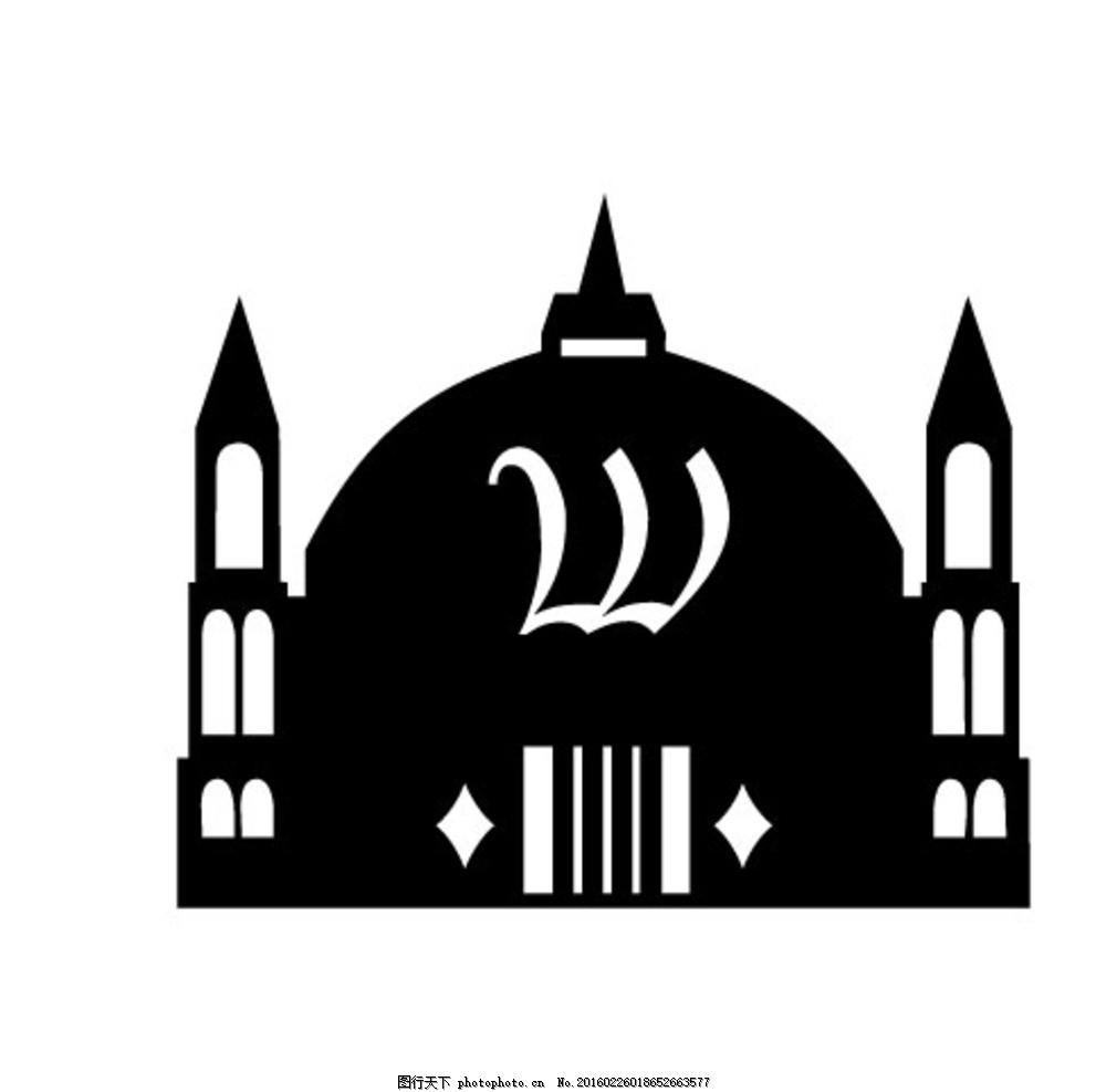 黑白矢量建筑图 矢量 黑白 建筑 楼房 城堡 统一图典 设计 动漫动画