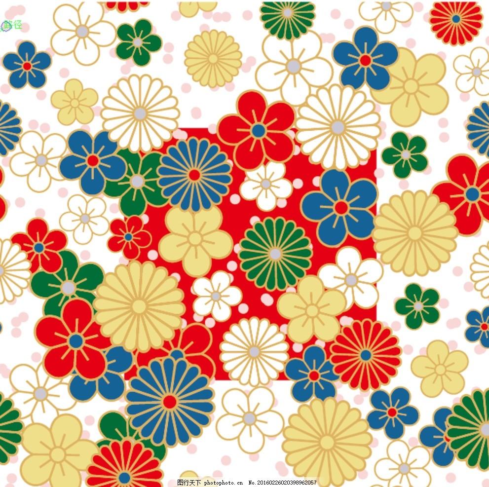 方形手绘花朵背景