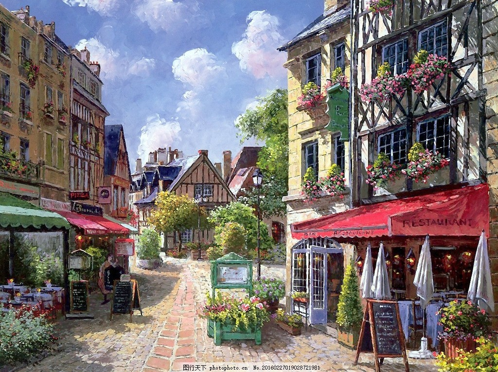 欧洲小镇街景油画图片