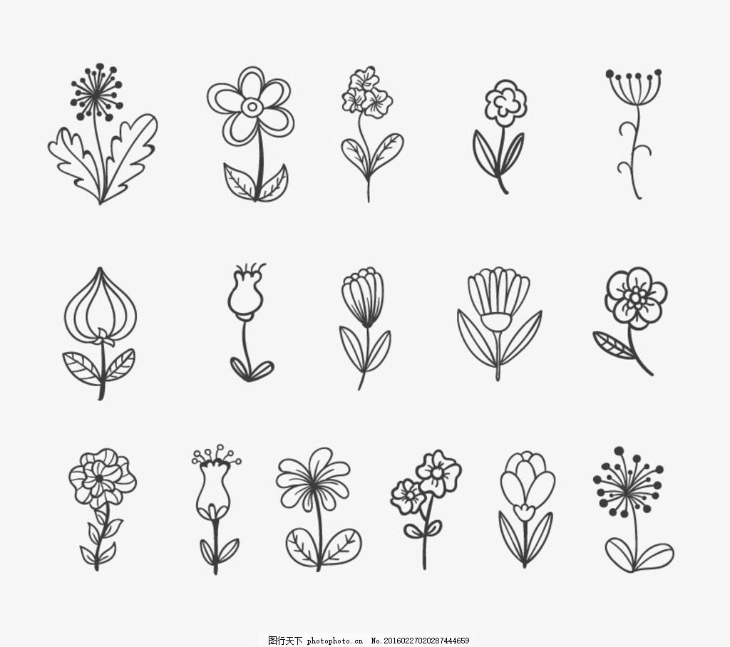细条简笔画小花朵 细线条 手绘 铅笔画
