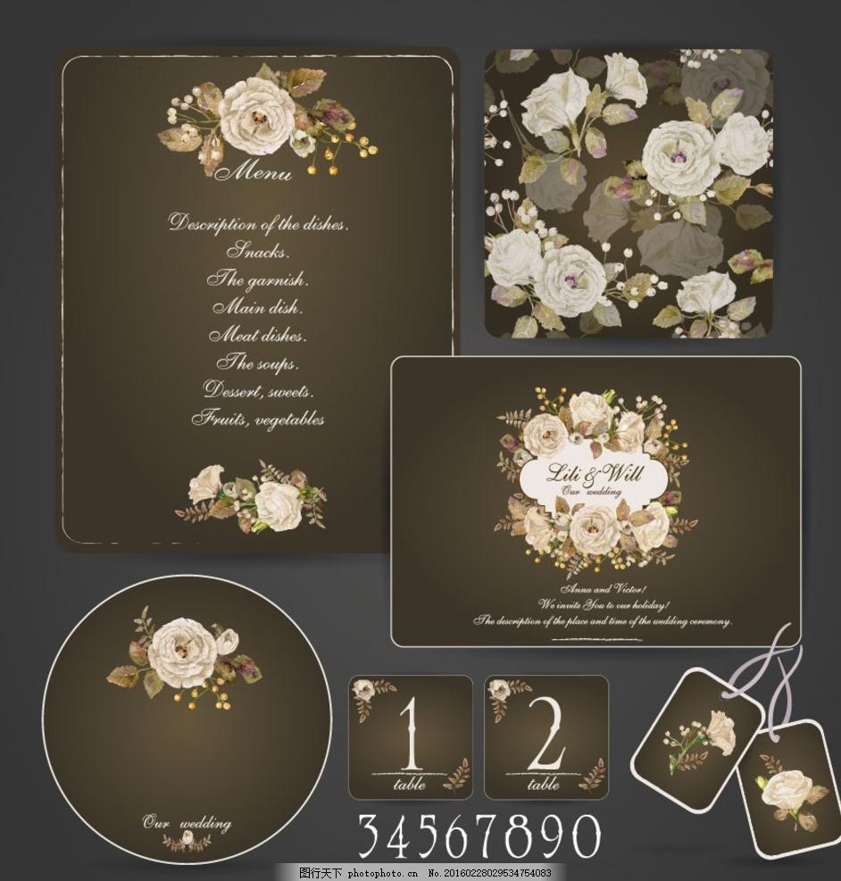 手绘花卉装饰 复古花朵 欧式元素 卡片 工作牌 吊牌 纸巾盒 三折页