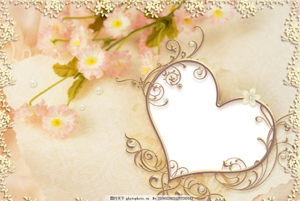 浪漫花纹背景心形边框 康乃馨 鲜花 温馨