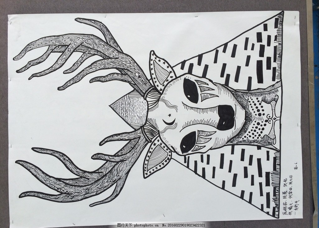 黑白装饰画 手绘 黑白画 图案 纹样 摄影 美术绘画图片