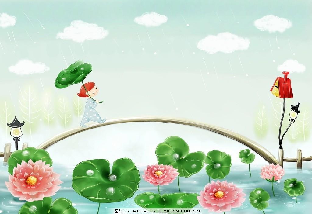 打伞 下雨 雨天 雨水 可爱 卡通人物 插画设计 绘画 艺术 儿童 幼儿