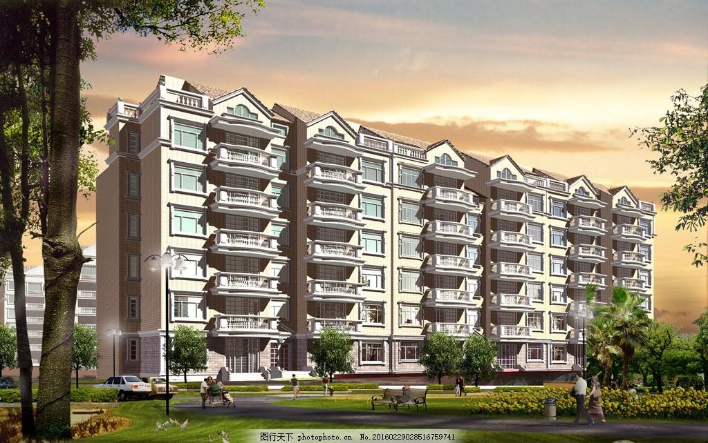 叠翠楼 立面图 楼房 住宅 楼盘 小区 花园 广告设计 建筑效果图
