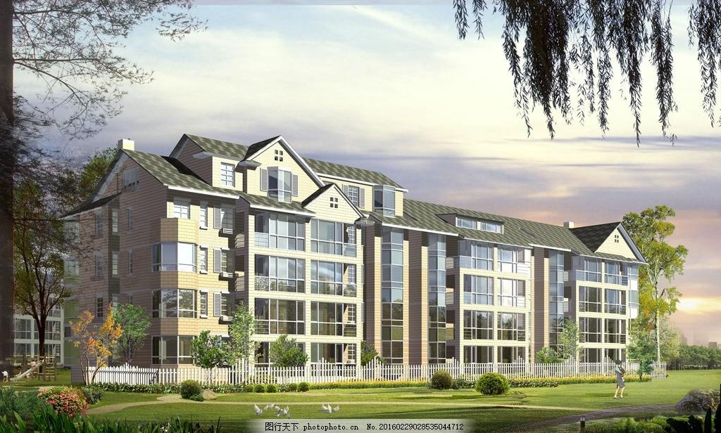 大维国际楼房 立面图 住宅 楼盘 小区 花园 广告设计 建筑效果图