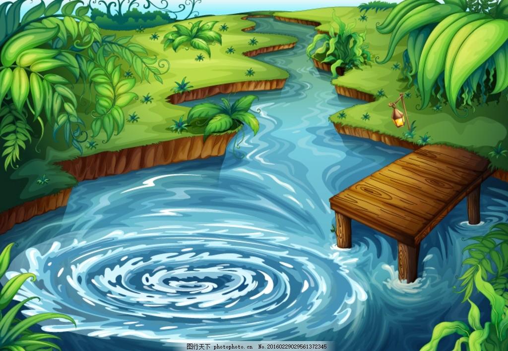 池塘 卡通 木桥 风景 矢量 平面素材