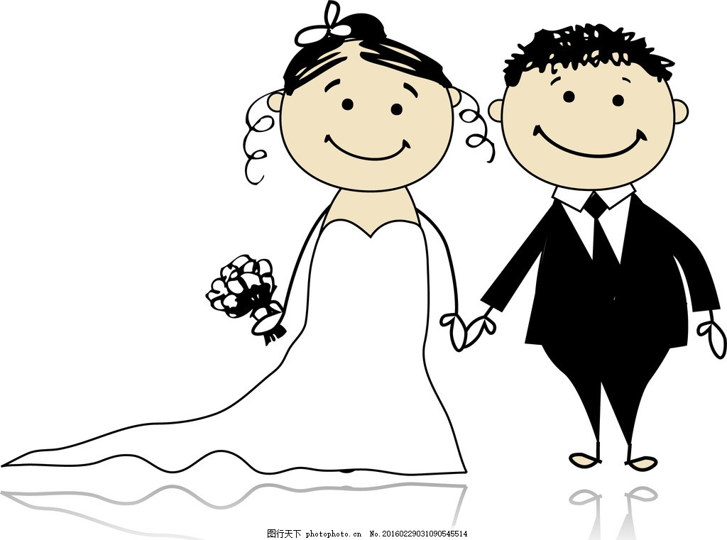牵手      婚礼 求婚 配偶 老公 老婆 卡通 婚庆 插画 手绘 人物 可爱