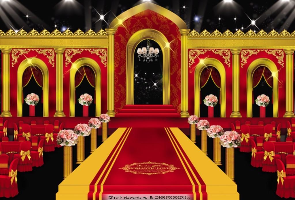 欧式婚礼 大红色 欧式 婚礼 舞台 高档 拉里拉喳 设计 其他 图片素材