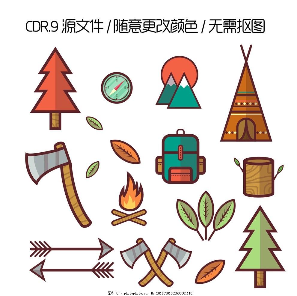 红色背景 cdr源文件 cdr手绘素材 箭 森林 树木 太阳 树叶 斧子 帐篷