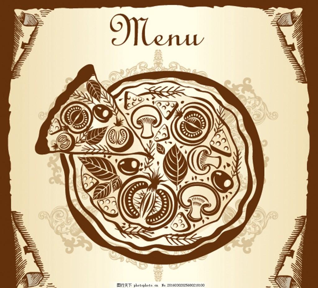 复古餐厅菜单矢量图 餐具 披萨 茶壶 刀叉 菜谱 欧式背景