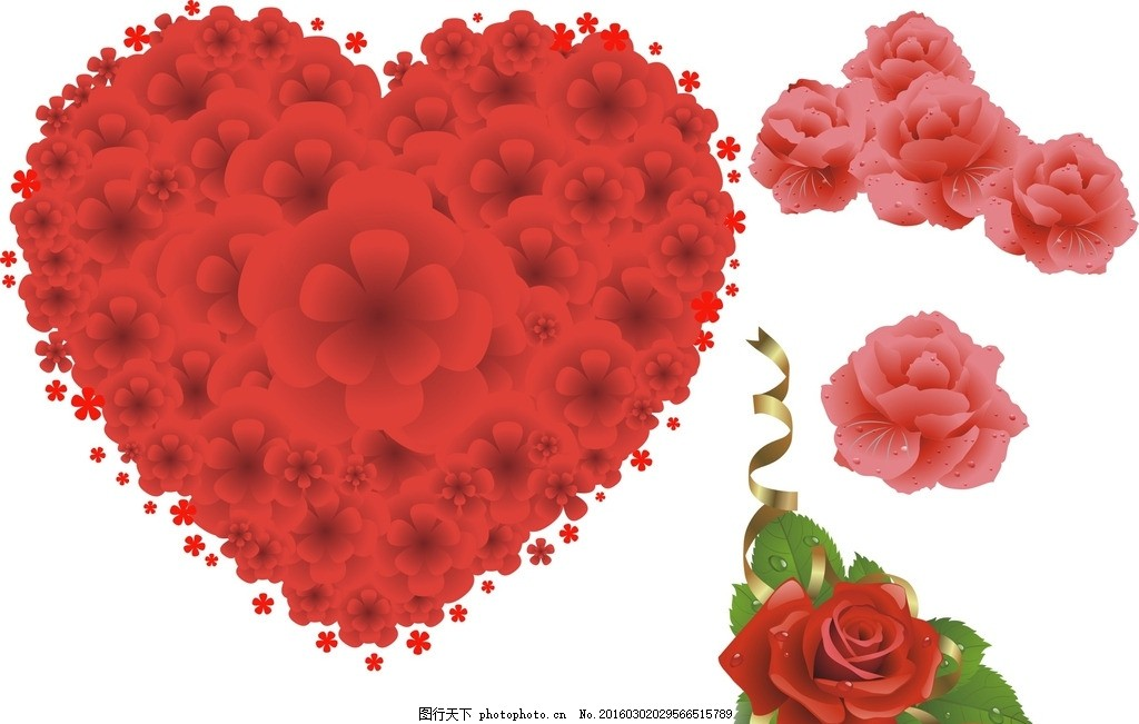 手绘玫瑰花 玫瑰花素材 粉色玫瑰花 心形玫瑰花 玫瑰花心形 心形花朵
