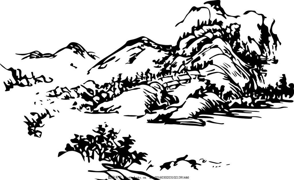 山矢量线条图 ai山 山水风景 源文件 茶叶包装素材 包装素材 设计