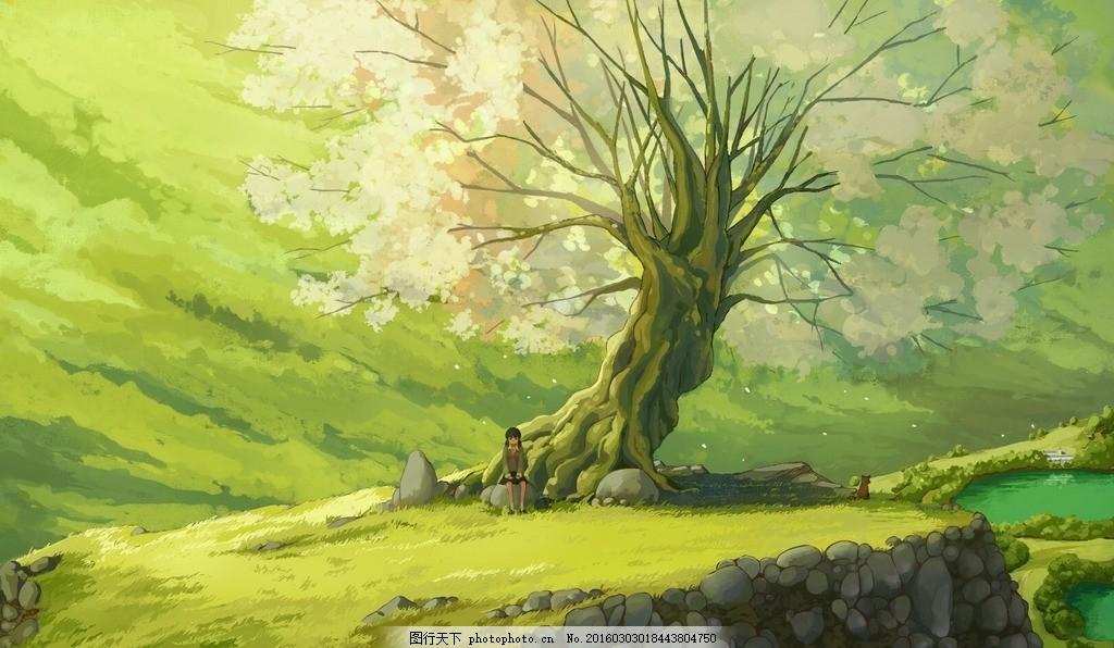 风景动漫壁纸 绿树 女孩 女生 动漫动画