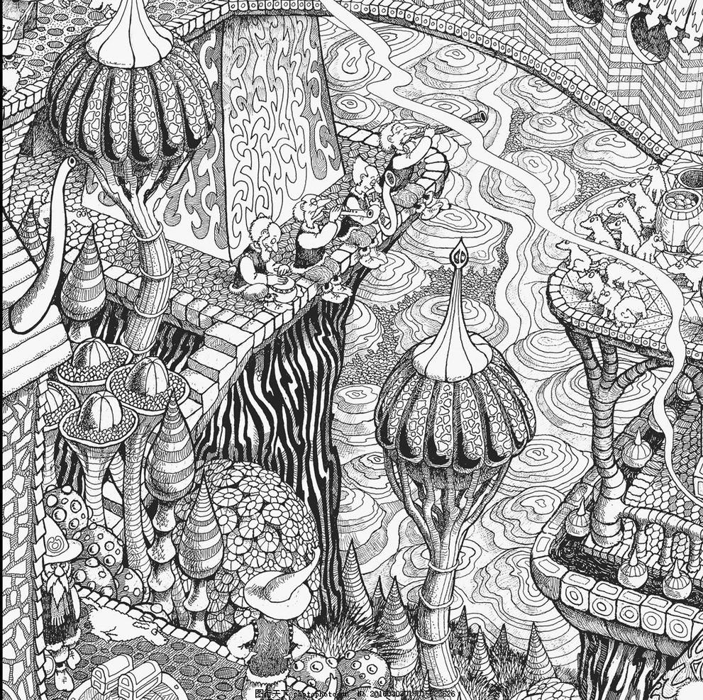 秘密花园 填色卡 城堡 简笔画 小学生 绘画 设计 文化艺术 绘画书法