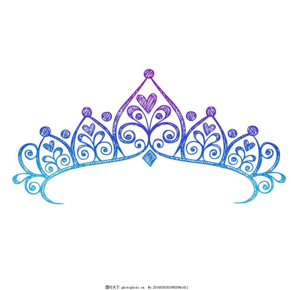 手绘风格 矢量 皇冠 清新 唯美 矢量文件 设计 底纹边框 其他素材 ai