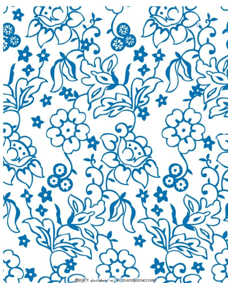 手绘蓝色开花枝条底纹 手绘 蓝色 花朵 底纹 花草 树叶 背景 植物