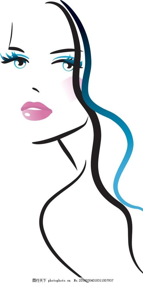 美女手绘 线条画 线条美女 手绘 设计 眼睛 美女头发 飘逸 线条 艺术