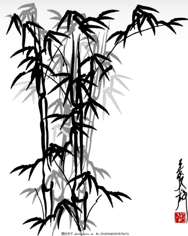 水墨画 竹子 意境 黑白竹子 国画
