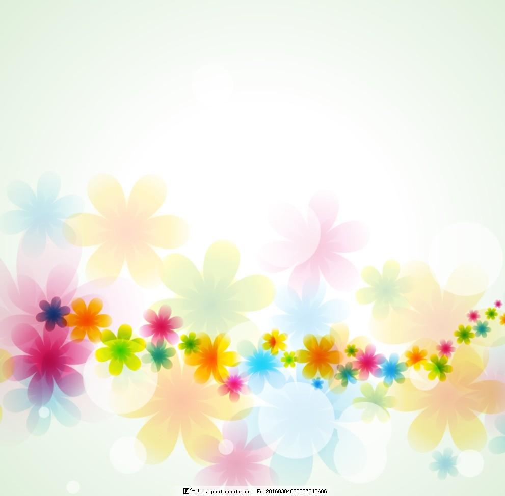 手绘彩色圆点花朵叠加背景 卡片 插画 插图 装饰画 春天 生机