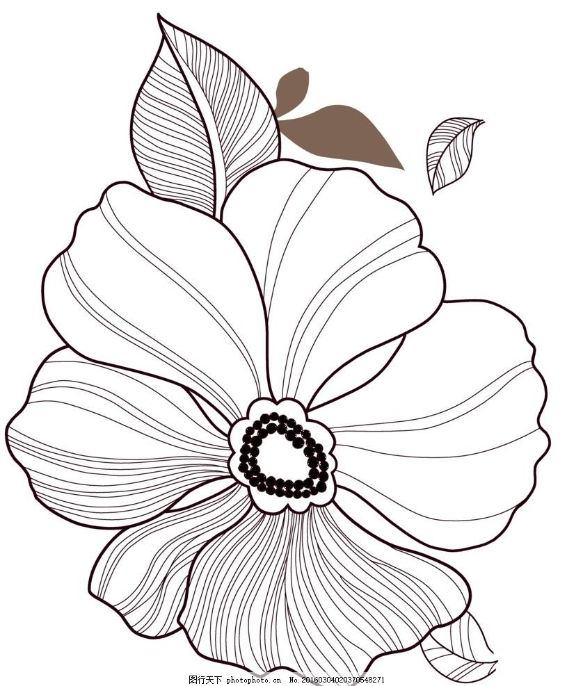 线条花 花朵 边花 花 花卉 设计 底纹边框 花边花纹 508dpi psd