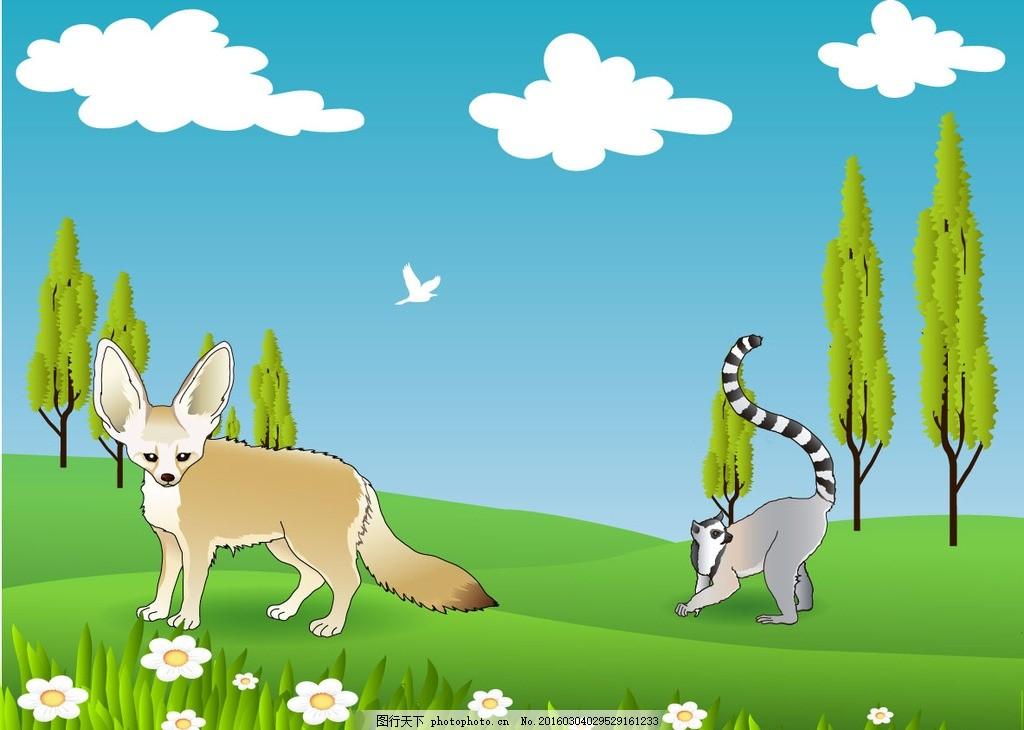 野生动物 狐狸 卡通狐狸 可爱狐狸 卡通动物 狐狸背景 平面素材 设计