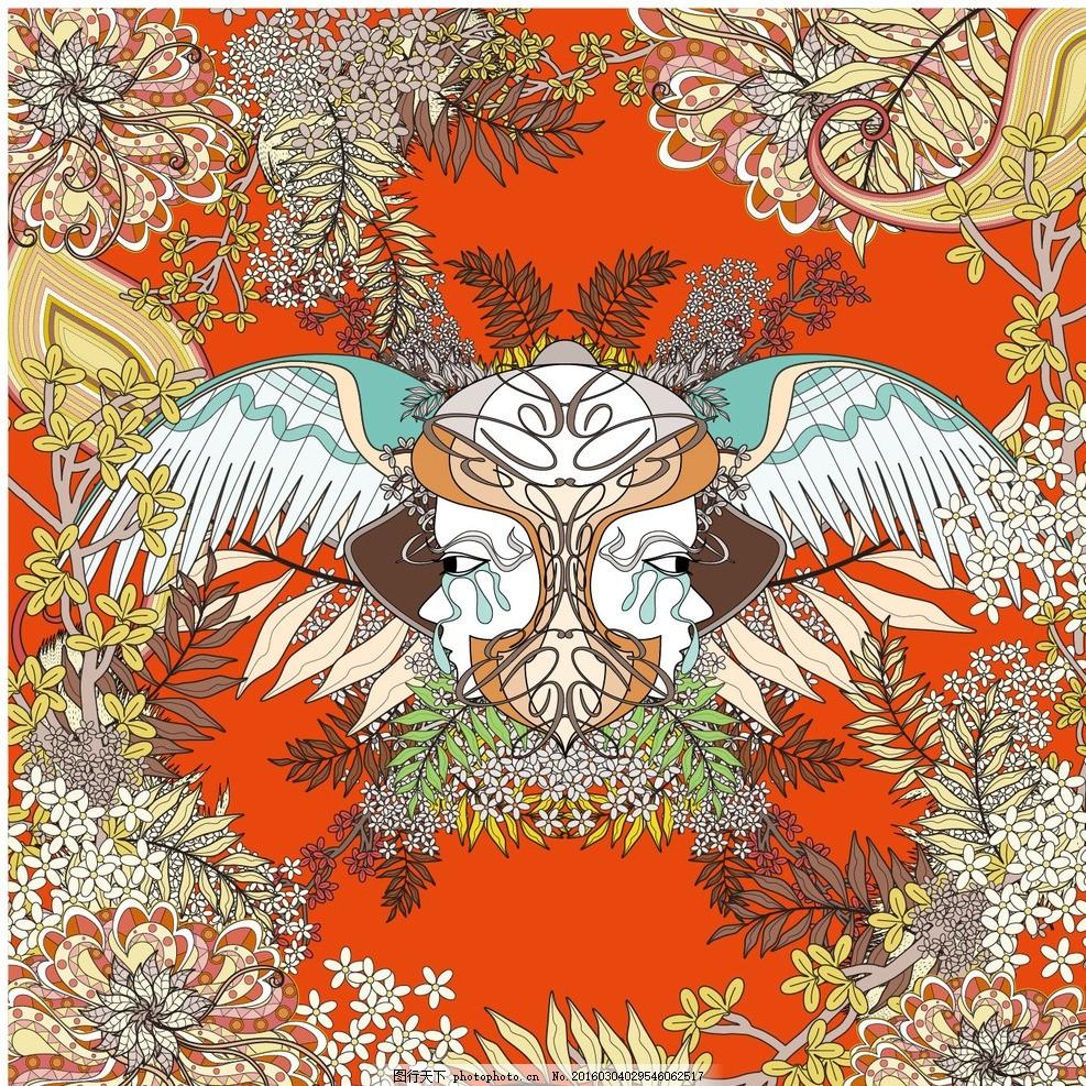 繁花似锦插画 手绘 浮世绘 鲤鱼凤凰花朵 日式风格插画 团花锦簇 仙鹤