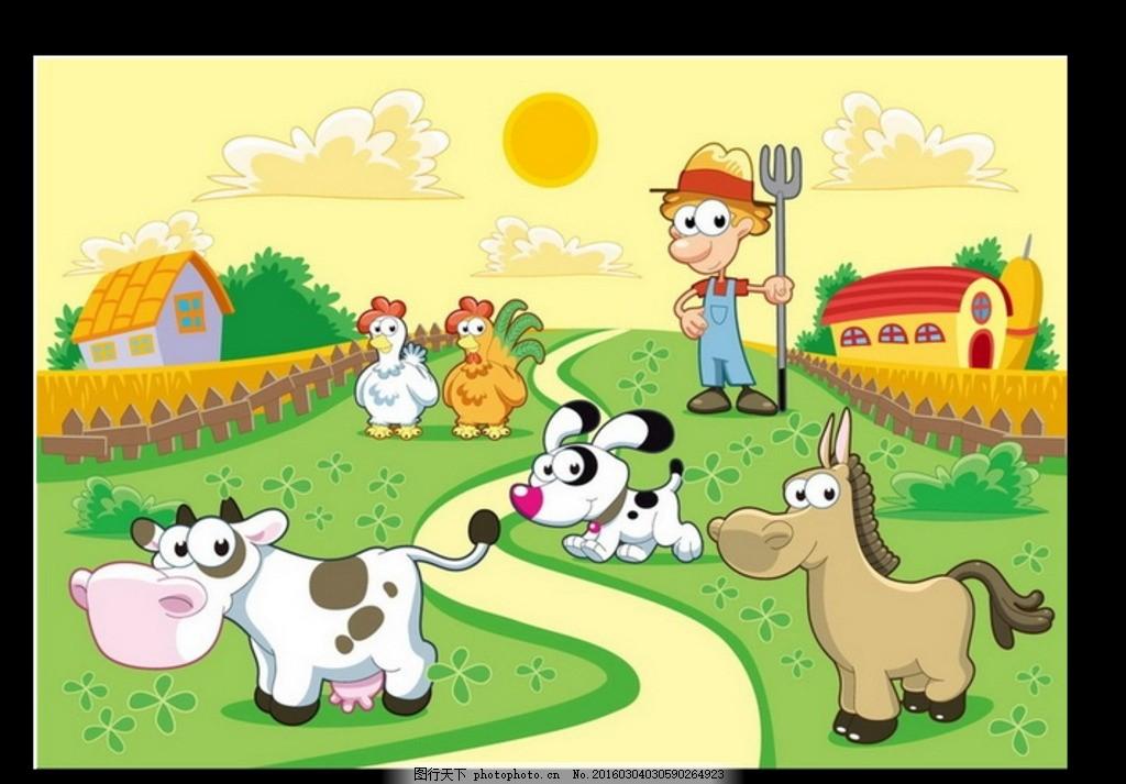 小动物 时尚 漫画 卡通 插画 插图 装饰画 春天 生机 清新 花草 小马