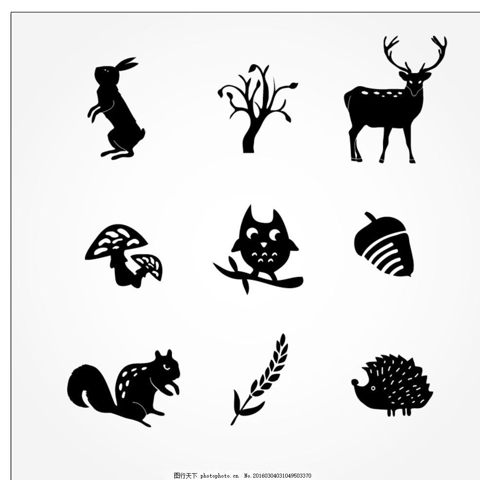森林动物剪影图标
