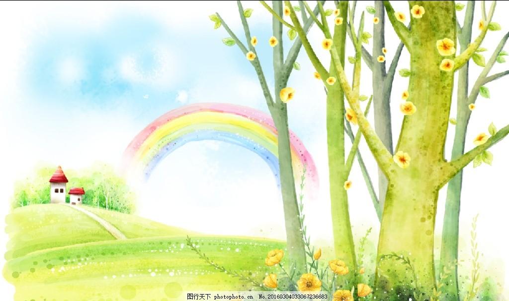 彩虹下的房子大樹和花叢