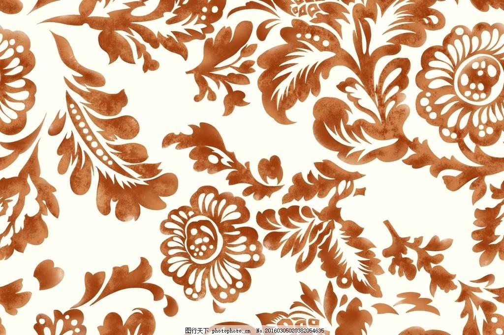 背景花纹 油画 仿古纹 花 墙纸 笔画欧式元素 设计 底纹边框 花边花纹