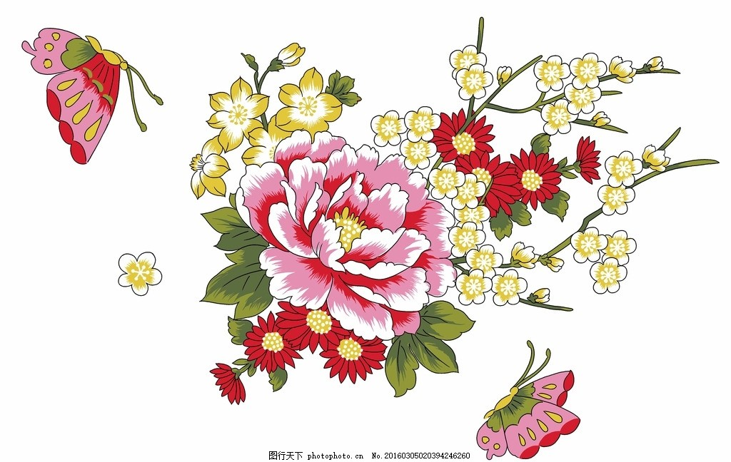 牡丹花 花卉 手绘花 花边 花纹花朵