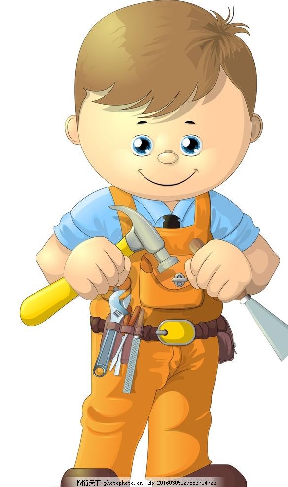 卡通电工 卡通维修工人 卡通工人 工人 测量 修建 建筑工人 工程师