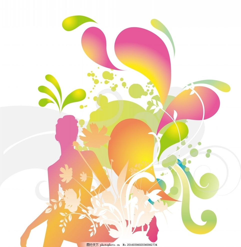 时尚人物花纹背景 花纹 矢量 图标 图形 纹理 可爱 边框 设计 元素