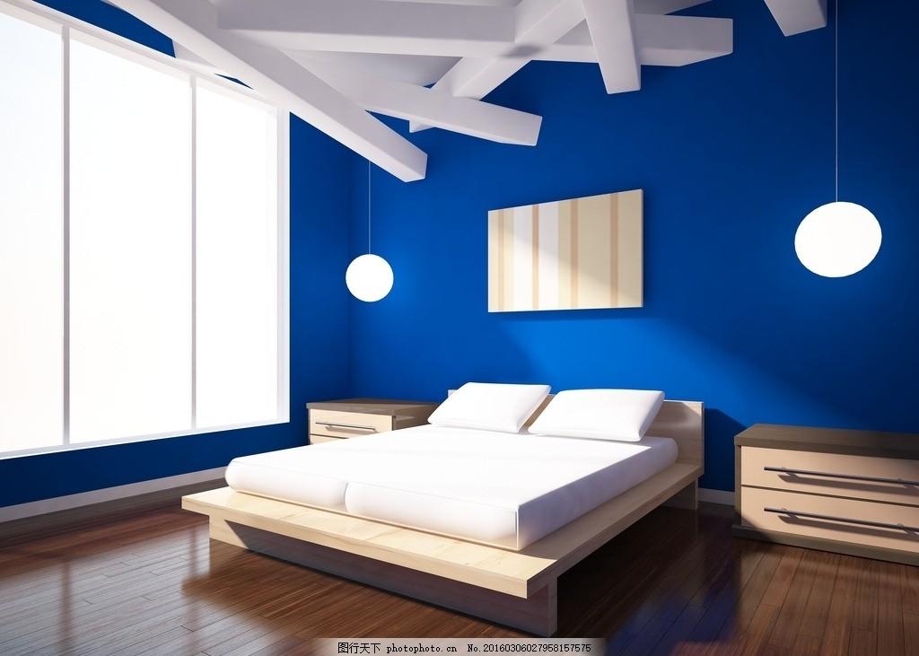 蓝色墙面卧室 浪漫 主题酒店 酒店      床 室内装修 室内设计 屋子