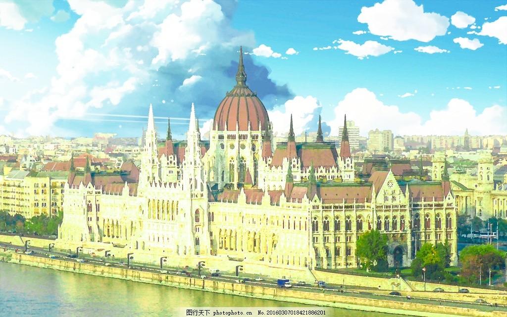 动漫城堡 动漫 城堡 卡通 欧式 漫画 设计 动漫动画 风景漫画 72dpi