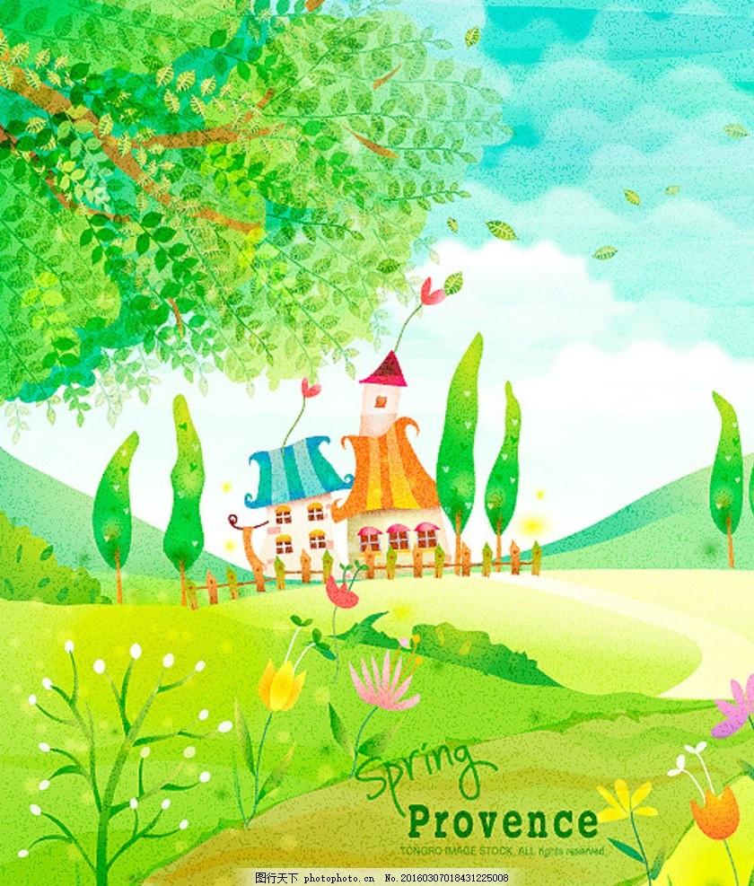 卡通城堡和春天美丽花朵背景 城堡 春天 大树 风景插画 花朵 花纹