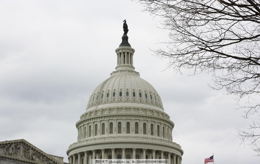 美国白宫风景 人文风景 欧式建筑 罗马柱 自然风光 摄影 国外旅游