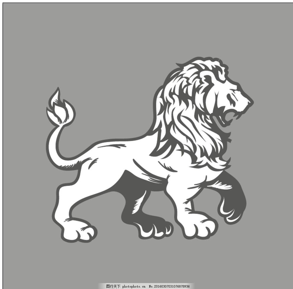 狮子动物纹身图腾 纹身图案 标志 野生动物 生物世界 矢量 最新矢量