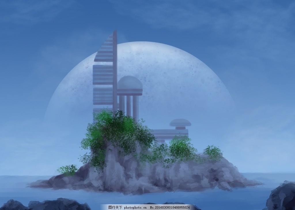 未来科技城市 未来 科技 城市 海洋 岛 设计 动漫动画 风景漫画 72dpi