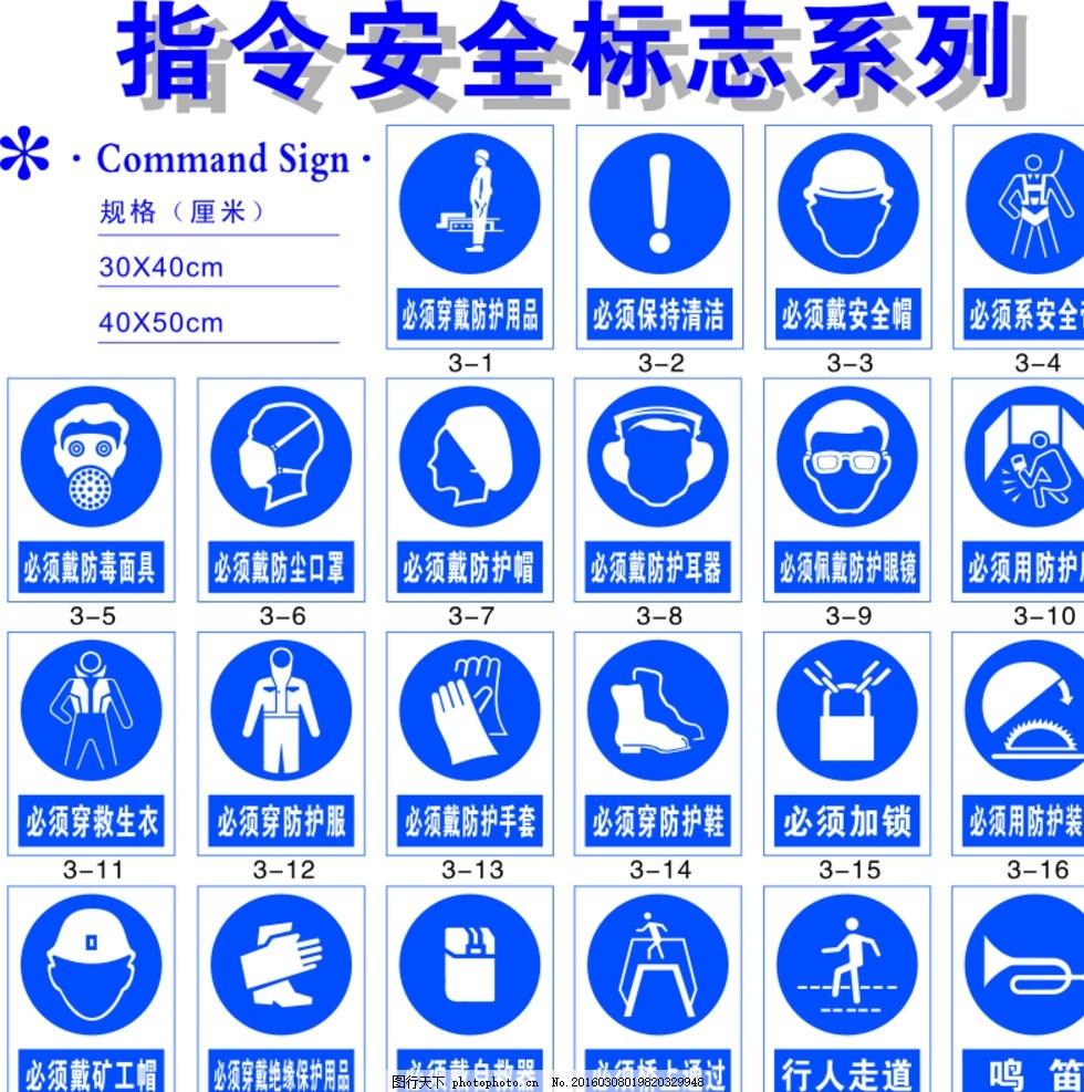 指令安全标志系列 防护 带好安全帽 穿戴防护用品 防护鞋 防护手套