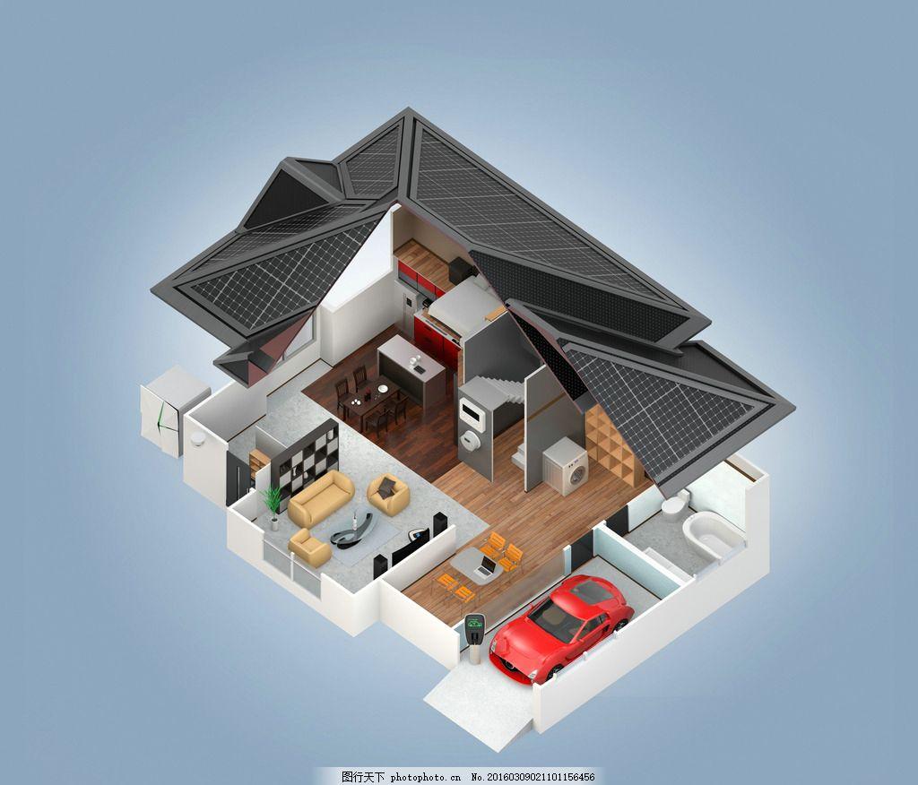 鸟瞰别墅图 三维 透视 室内 效果图 室内效果图 家装效果图 装修