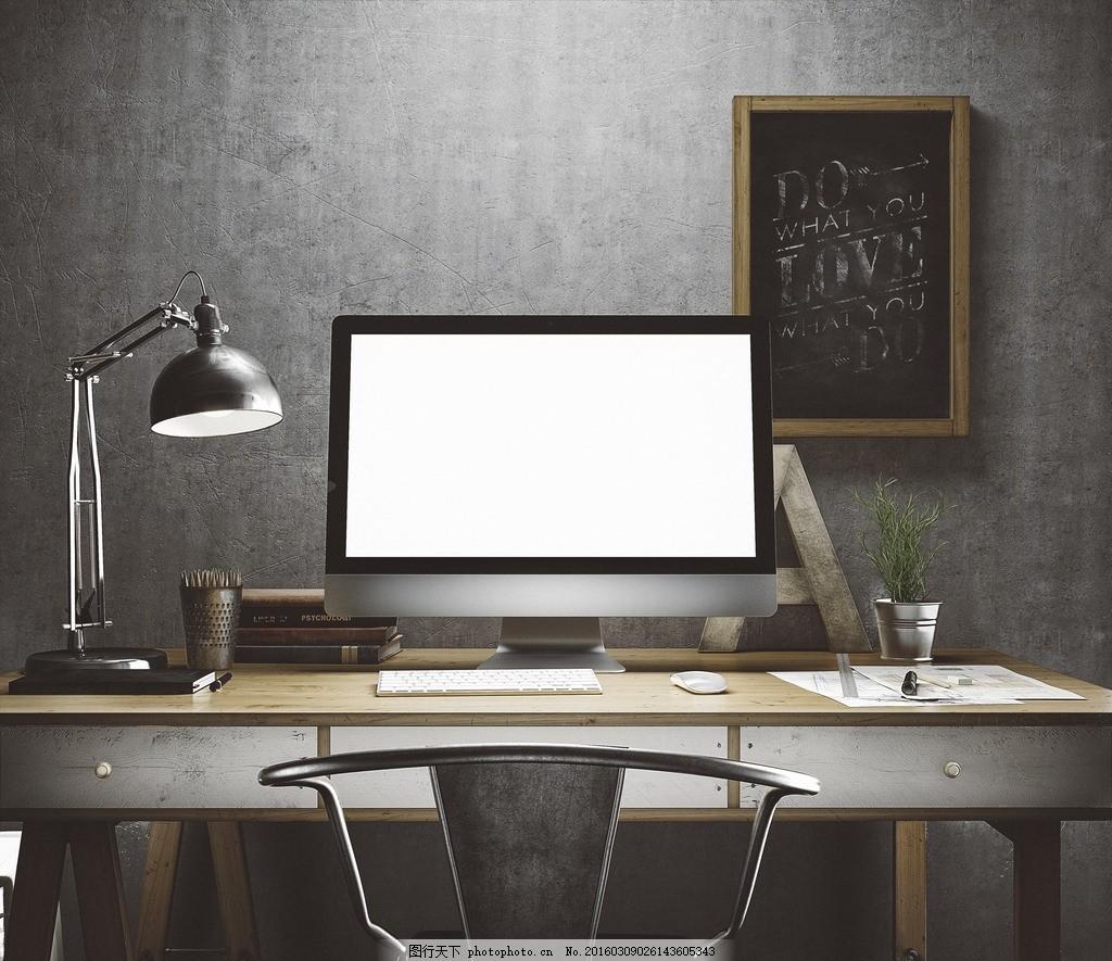 工作台办公桌 电脑 灯光 书桌 设计桌 摄影 学习办公