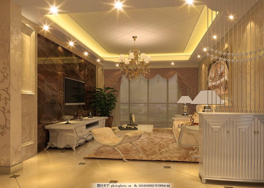 室内效果图 客厅吊顶 电视背景 绒毛地毯 壁画 电视柜 鞋柜 原创设计