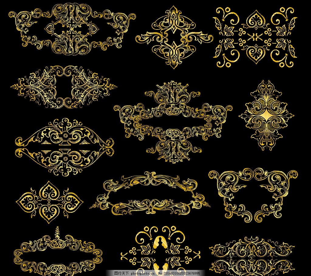 金色花纹边框 金色 ps素材 花纹 古典 边框 设计 底纹边框 花边花纹