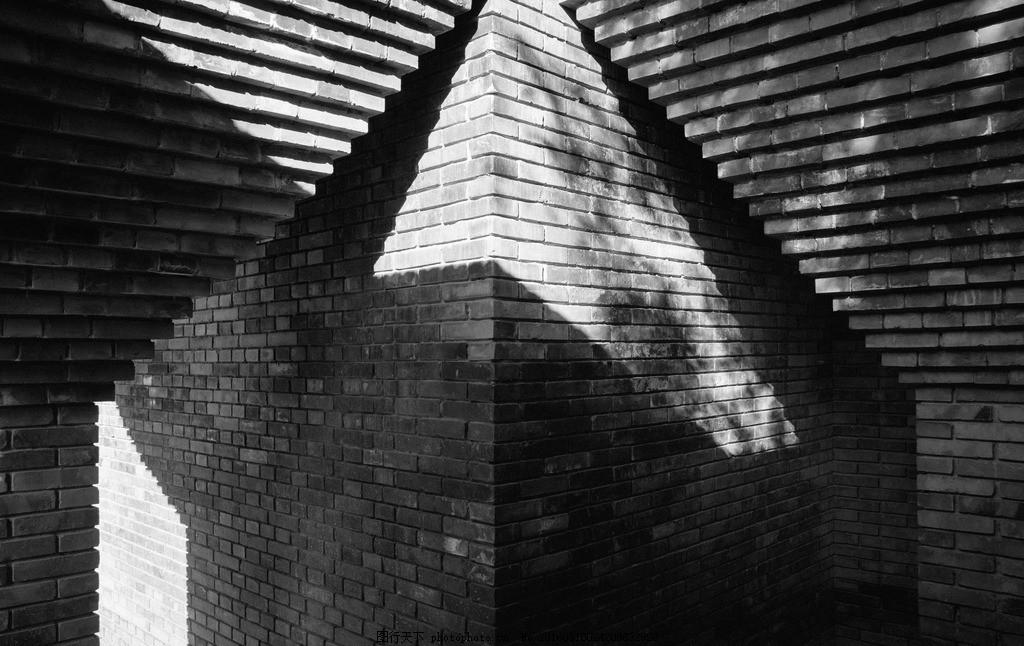 黑白墙角 青砖 高清 光影 壁纸 摄影 建筑景观