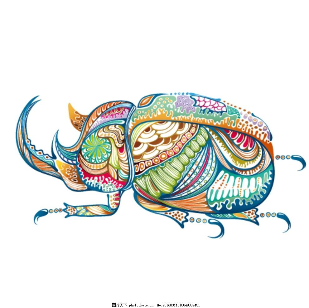 七彩装饰花纹锹形虫 甲虫 昆虫 动物 硬壳 矢量 彩色 设计素材